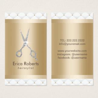 Hair Stylist Silver Scissor Salon Luxury Quilted Business Card