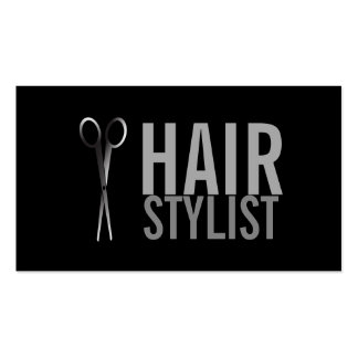 Hair Stylist - Silver Scissors  black background Pack Of Standard Business Cards