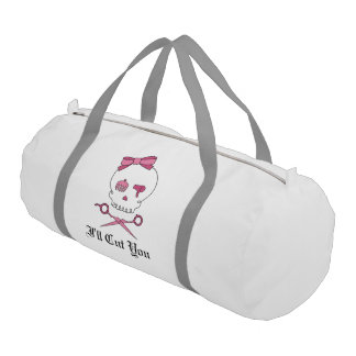 Hair Stylist Skull & Scissor Crossbones - Pink 5 Gym Bag