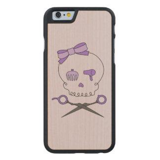 Hair Stylist Skull & Scissor Crossbones - Purple 2 Carved® Maple iPhone 6 Slim Case