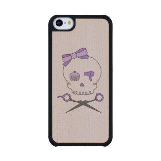 Hair Stylist Skull & Scissor Crossbones - Purple 2 Carved® Maple iPhone 5C Slim Case