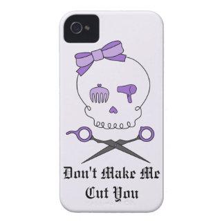 Hair Stylist Skull & Scissor Crossbones - Purple 2 iPhone 4 Cases