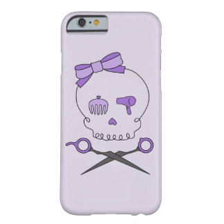 Hair Stylist Skull & Scissor Crossbones - Purple 2 Barely There iPhone 6 Case