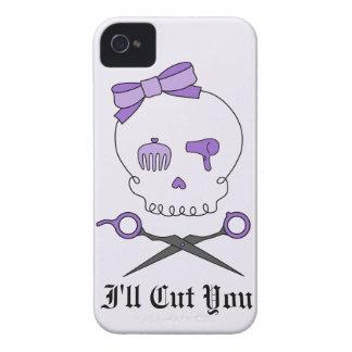 Hair Stylist Skull & Scissor Crossbones - Purple 2 iPhone 4 Covers