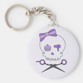 Hair Stylist Skull & Scissor Crossbones - Purple 2 Key Ring