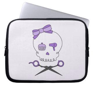 Hair Stylist Skull & Scissor Crossbones - Purple 2 Laptop Sleeve