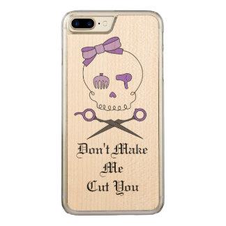 Hair Stylist Skull & Scissor Crossbones - Purple 3 Carved iPhone 7 Plus Case