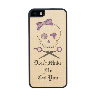 Hair Stylist Skull & Scissor Crossbones - Purple 3 Carved® Maple iPhone 5 Slim Case