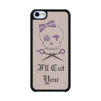 Hair Stylist Skull & Scissor Crossbones - Purple 6 Carved® Maple iPhone 5C Slim Case