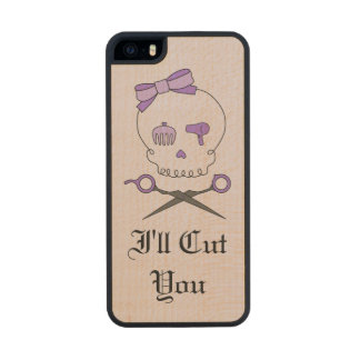 Hair Stylist Skull & Scissor Crossbones - Purple 6 Carved® Maple iPhone 5 Slim Case
