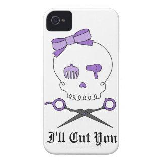 Hair Stylist Skull & Scissor Crossbones - Purple iPhone 4 Case-Mate Cases