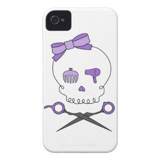 Hair Stylist Skull & Scissor Crossbones - Purple iPhone 4 Cover