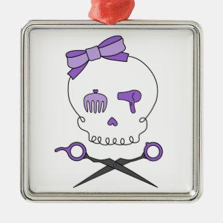 Hair Stylist Skull & Scissor Crossbones - Purple Christmas Ornament