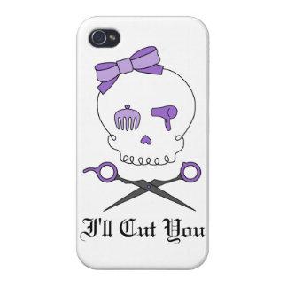 Hair Stylist Skull & Scissor Crossbones - Purple iPhone 4 Cases