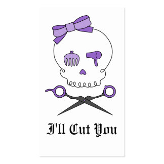 Hair Stylist Skull & Scissor Crossbones - Purple Pack Of Standard Business Cards