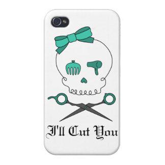 Hair Stylist Skull & Scissor Crossbones -Turquoise iPhone 4 Covers