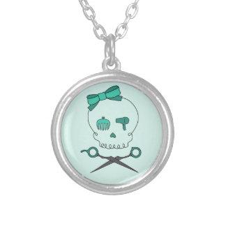 Hair Stylist Skull & Scissor Crossbones -Turquoise Round Pendant Necklace