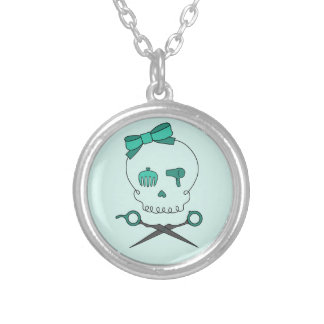 Hair Stylist Skull & Scissor Crossbones -Turquoise Silver Plated Necklace