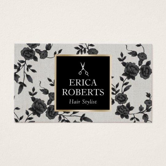 Hair Stylist Vintage Black Floral Elegant Salon Business