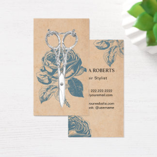 Hair Stylist Vintage Scissor & Blue Rose Floral Business Card