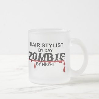 Hair Stylist Zombie Frosted Glass Mug