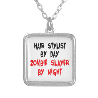 Hair Stylist Zombie Slayer Silver Plated Necklace