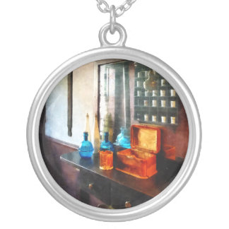 Hair Tonic and Shaving Mugs Round Pendant Necklace