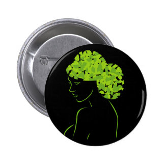 Hair with leaves 6 cm round badge