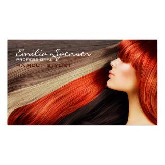 Haircut Stylist Long Red Hair Business Card