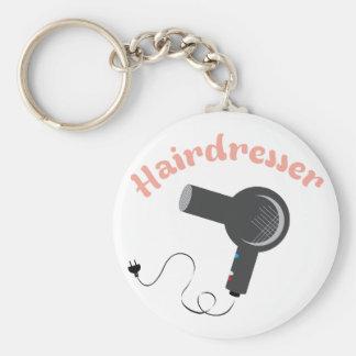 Hairdresser Basic Round Button Key Ring