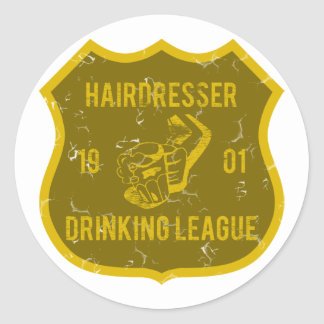 Hairdresser Drinking League Classic Round Sticker