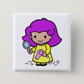 Hairdresser Girl 15 Cm Square Badge