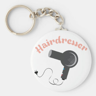 Hairdresser Basic Round Button Key Ring