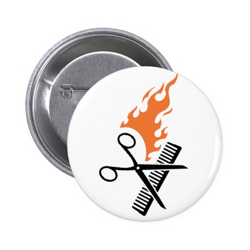 Hairdresser on fire 6 cm round badge