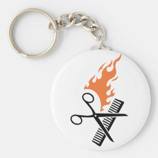Hairdresser on fire basic round button key ring