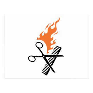 Hairdresser on fire postcard