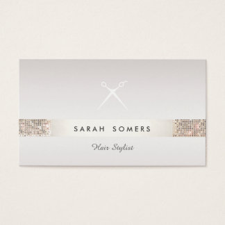 Hairdresser Scissors Logo FAUX Silver Sequin Taupe Business Card