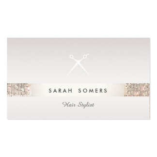 Hairdresser Scissors Logo FAUX Silver Sequin Taupe Pack Of Standard Business Cards