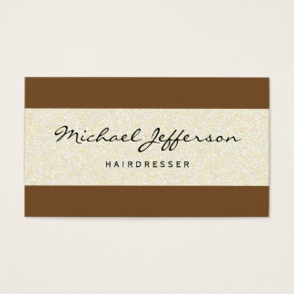 Hairdresser Script Professional Stone Wall Pattern Business Card