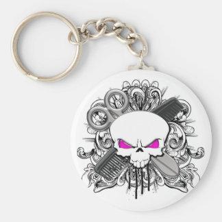 Hairdresser Skull Basic Round Button Key Ring