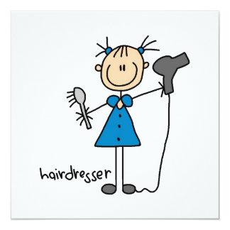 Hairdresser Stick Figure 13 Cm X 13 Cm Square Invitation Card