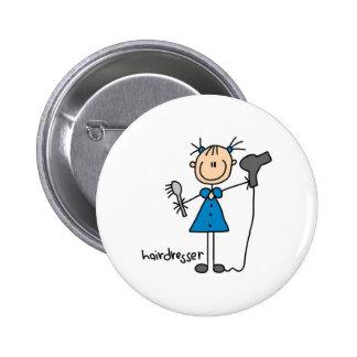 Hairdresser Stick Figure Button