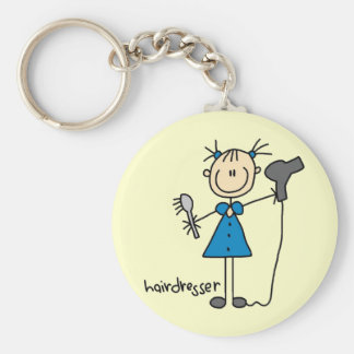 Hairdresser Stick Figure Basic Round Button Key Ring