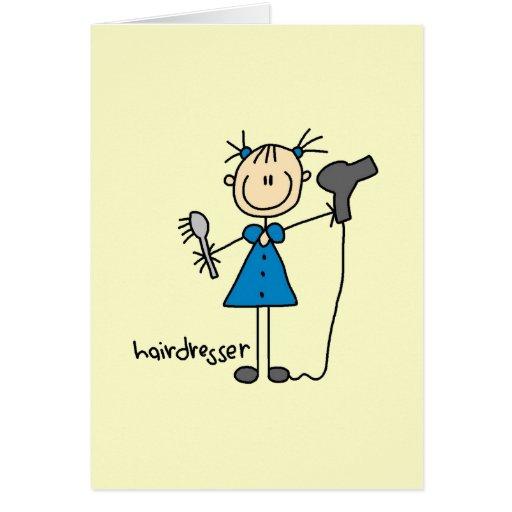Hairdresser Stick Figure Greeting Card