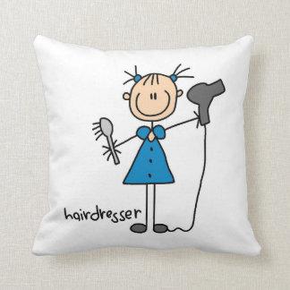 Hairdresser Stick Figure Throw Pillows