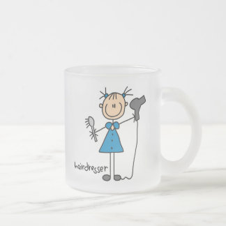 Hairdresser Stick Figure Frosted Glass Coffee Mug