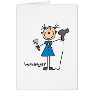 Hairdresser Stick Figure Greeting Card