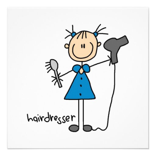 Hairdresser Stick Figure Personalized Announcement