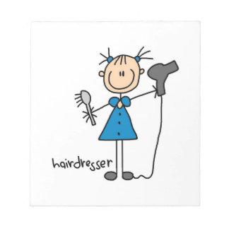 Hairdresser Stick Figure Memo Notepad