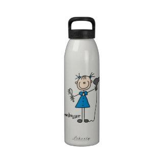 Hairdresser Stick Figure Water Bottle